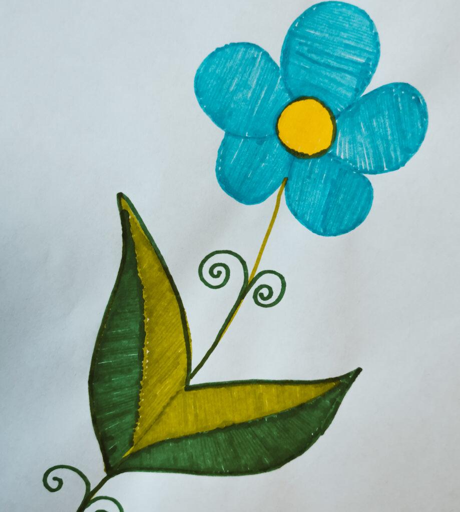 gezeichnete, bunte Blume