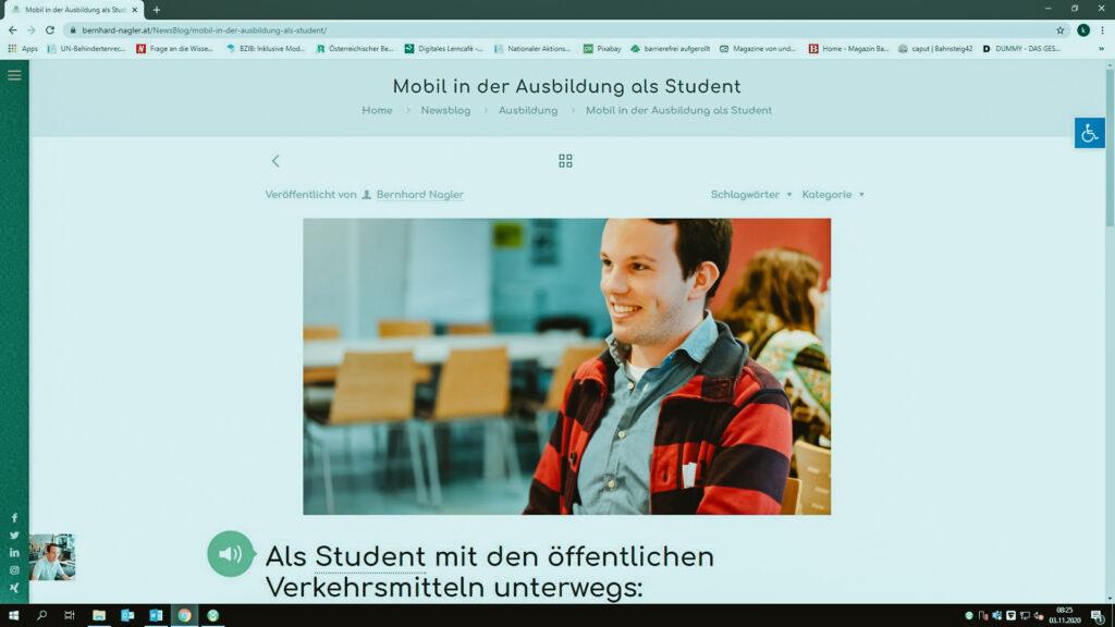 Screenshot von Bernhard Naglers Blog